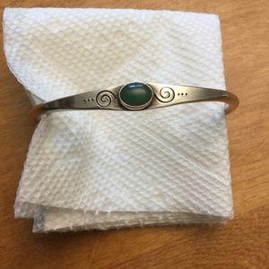 Sterling Silver Bracelet w/ Green Stone